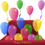Holiday Balloons from red Box Stock Photography