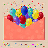 Holiday balloons with red envelope on orange background. Royalty Free Stock Photography