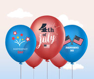 Holiday balloons. 4th of July. National celebration. Independence Day. Vector set of holiday balloons. Realistic mockup. Holiday balloons. 4th of July. National Stock Photography