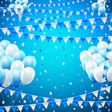 Holiday baloon banner. Celebration holiday birthday banners template with balloons and flags. Vector background Royalty Free Stock Images