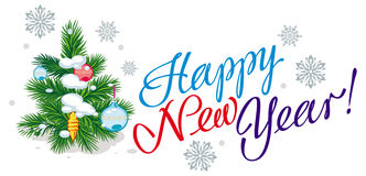 Holiday banner with Christmas tree. Artistic written text:`Happy New Year!`. Raster clip art Stock Photo