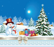 Holiday banner with a Christmas tree. And snowmen in the winter landscape Stock Photos