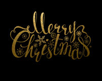 Holiday banner with decoration. Festive Calligraphy gold texture inscription Merry Christmas and snowflakes. Stock Photos