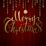 Holiday banner with decoration. Festive red curtain. Calligraphy gold texture inscription Merry Christmas and star. Holiday banner with place for text. Festive Royalty Free Stock Photos