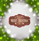 Holiday Banner with Fir Branches and Wooden Sign with Wishes Royalty Free Stock Photos