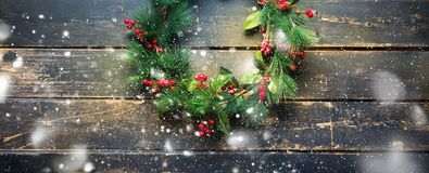 Holiday banner green christmas decorative wreath stock image