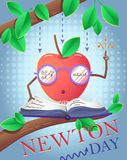 Holiday banner Newton Day. Educational banner for the holiday Newton Day vector illustration