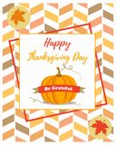 Holiday banner with pumpkin for Thanksgiving day. Royalty Free Stock Photography