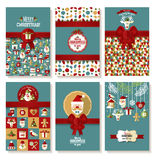 Holiday banner set of Christmas in flat style. Bright background. New years set Royalty Free Stock Photo