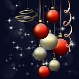 Holiday banner with sparkling Christmas glitter ornaments. stock illustration
