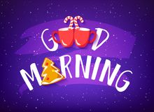 Holiday banner with text Good Morning, gingerbread, candy canes and two red cups on purple background. Cute illustration for bakery royalty free illustration
