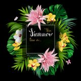 Holiday banner with tropical palm, monstera leaves, Hibiscuses, Aechmea and Orchids blooming flowers on the black Royalty Free Stock Photography
