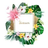 Holiday banner with tropical palm, monstera leaves, Hibiscuses, Aechmea and Orchids blooming flowers on the white Stock Photo