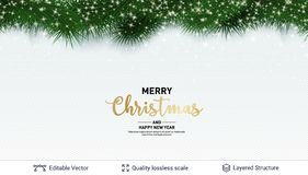 Holiday Banner With Fir Tree Border And Stars. Royalty Free Stock Photos