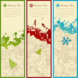 Holiday banners. Set of three christmas banners with doodles, splats, snoflakes and copyspace for your text Stock Photography