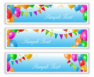 Holiday banners with balloons. Holiday banners with flags and colorful balloons Royalty Free Stock Image