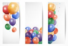 Holiday banners with balloons Stock Photos