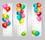 Holiday banners with colorful balloons. Vector Stock Photos