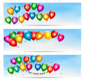 Holiday banners with colorful balloons Royalty Free Stock Photo