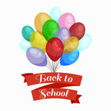 Holiday banners with colorful balloons. Back to school concept card  text vector illustration Royalty Free Stock Photography