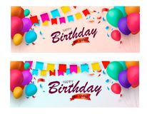 Holiday banners with colorful balloons and confetti. Vector illustration. Eps 10 Royalty Free Illustration