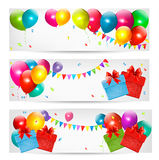 Holiday banners with colorful balloons and gift bo. X. Vector Stock Image