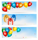 Holiday banners with colorful balloons and gift bo. Xes. Vector Royalty Free Stock Image