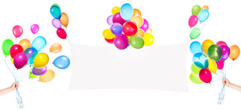 Holiday banners with colorful balloons Stock Photos