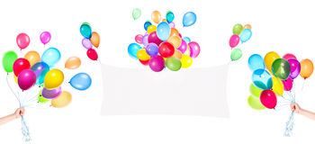 Holiday banners with colorful balloons Royalty Free Stock Photos