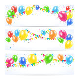 Holiday banners. With colorful balloons, pennants and confetti, Birthday background, illustration Stock Image