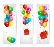 Holiday banners with colorful balloons. Vector Royalty Free Stock Photo
