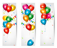 Holiday banners with colorful balloons. Royalty Free Stock Images