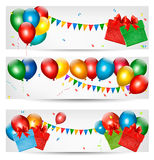 Holiday banners with colorful balloons. Stock Photos