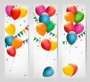 Holiday banners with colorful balloons. Stock Image