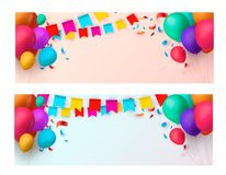 Holiday banners with colorful balloons. Vector illustration. Eps 10 Stock Images