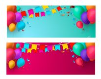Holiday banners with colorful balloons. Vector illustration. Eps 10 Royalty Free Stock Photography