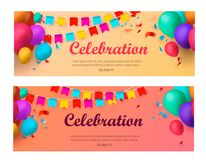 Holiday banners with colorful balloons. Vector illustration. Eps 10 Royalty Free Stock Image