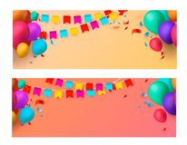 Holiday banners with colorful balloons. Vector illustration. Eps 10 Stock Image