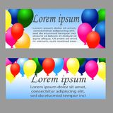 Holiday banners with colorful balloons. Vector. Illustrations Stock Photos