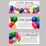 Holiday banners with colorful balloons. Vector. Illustrations Royalty Free Stock Photo