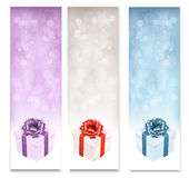 Holiday banners with colorful gift boxes. Royalty Free Stock Photo