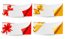 Holiday banners with gift bows and ribbons Royalty Free Stock Image