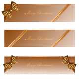 Holiday banners with gold ribbons, the vector eps 10 royalty free stock image