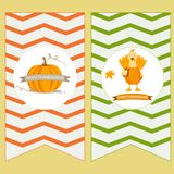 Holiday banners with pumpkin and turkey for Thanksgiving day. Royalty Free Stock Photos