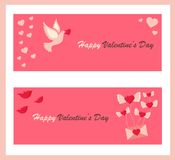 Holiday banners with symbols for Valentine`s Day Royalty Free Stock Photo