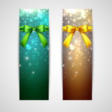 Holiday banners with yellow and green bows Stock Image