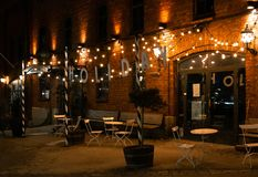 Holiday Bar exterior in Helsinki, Finland royalty free stock images