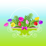 Holiday basket with tulips and ferns. Vector Illustration. Holiday basket with tulips and ferns Stock Images