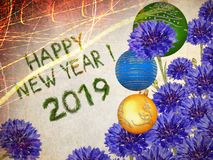 Holiday baubles and miracle blue flowers lovely bouquet. Happy New Year 2019. Holiday baubles and fresh miracle blue flowers. Lovely bouquet . Old paper texture royalty free illustration
