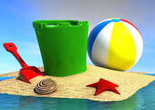 Holiday on beach. 3d image of a bucket a ball a starfish and a shell on the beach Royalty Free Stock Image